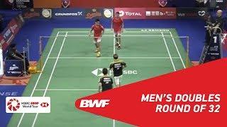 【Video】Marcus Fernaldi GIDEON・Kevin Sanjaya SUKAMULJO VS HE Jiting・TAN Qiang, DANISA Denmark Open 2018 best 32